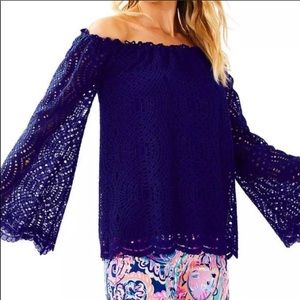 Lilly Pulitzer Blue Lace marble off shoulder top